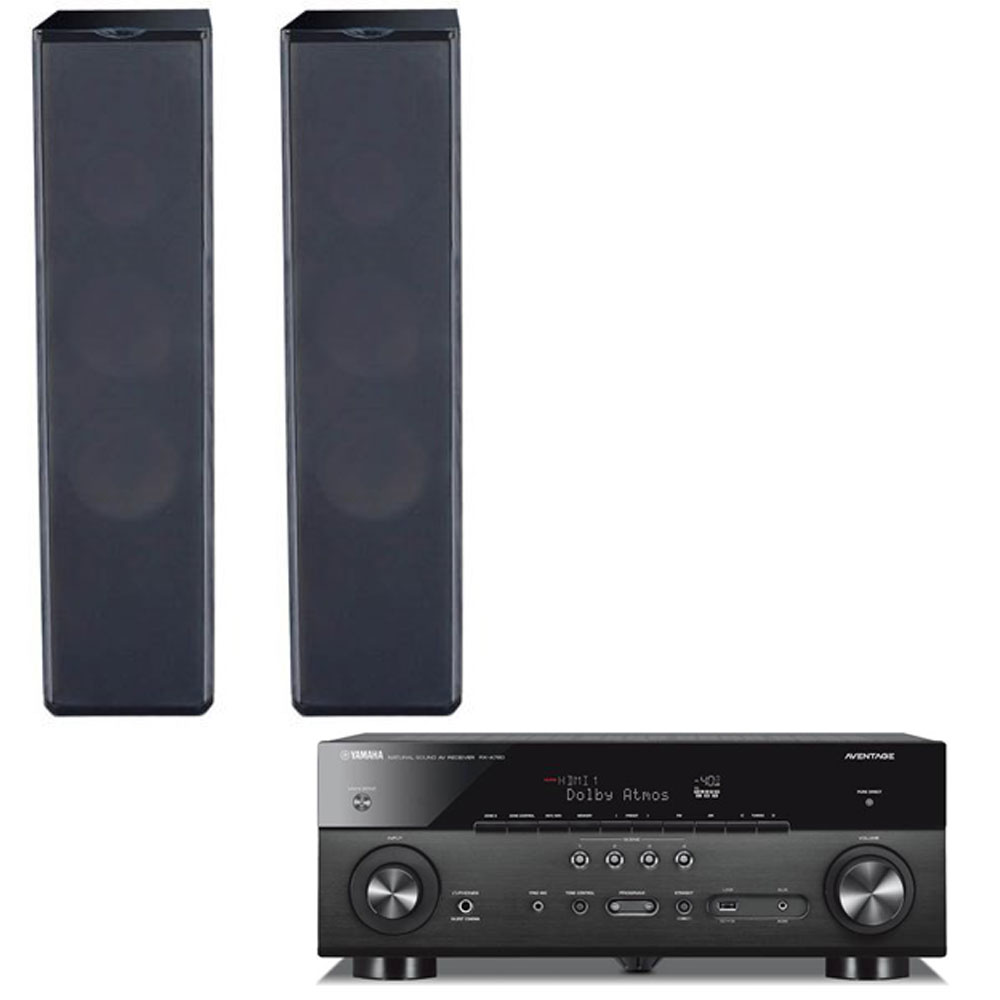2 Premier Acoustic PA-6F Tower Speakers with Yamaha RX-A780 Receiver