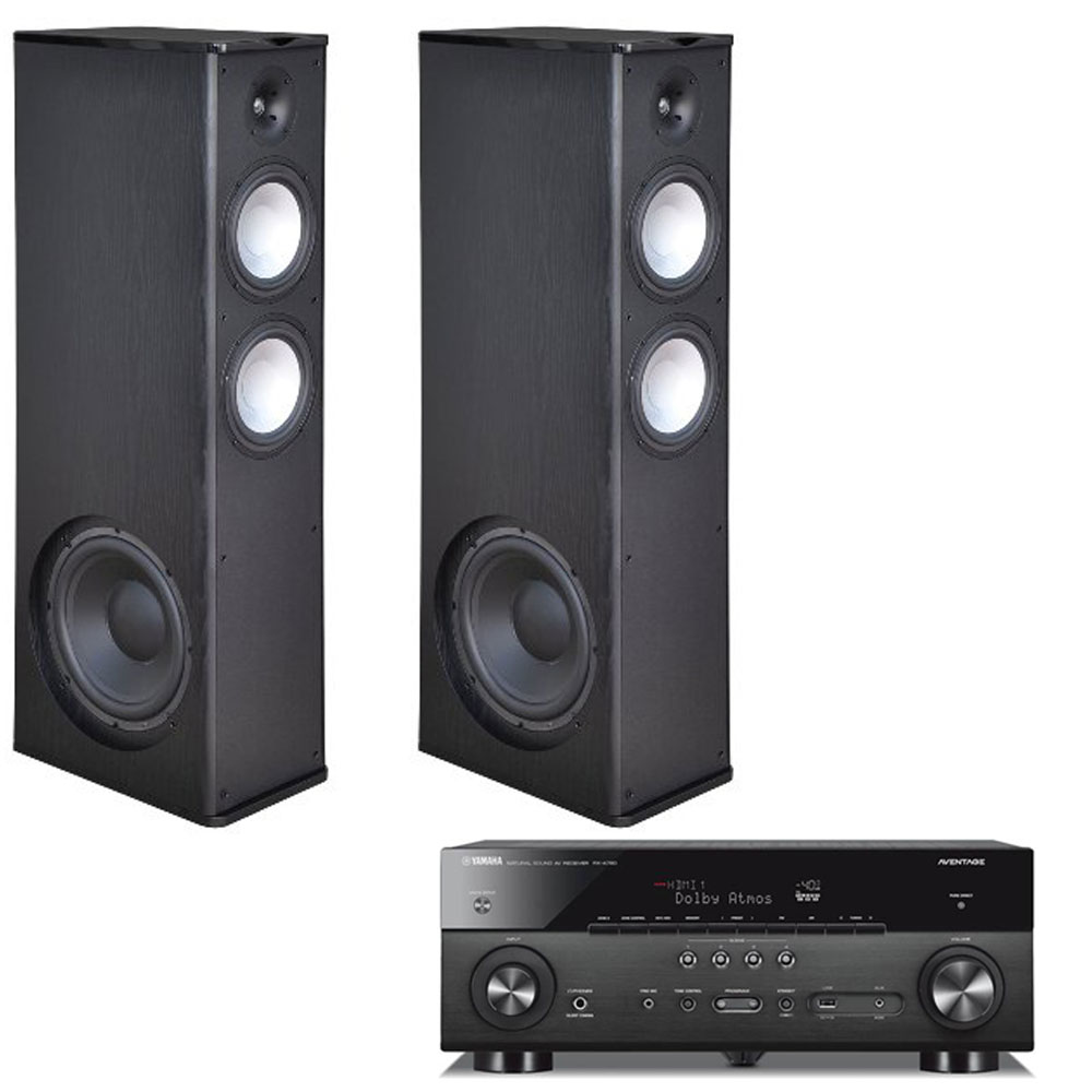 2 Premier Acoustic PA-8.12 Tower Speakers with Yamaha RX-A780 Receiver