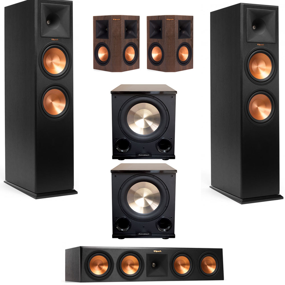 Klipsch RP-280F 5.2 Home Theater System w Walnut Surrounds, 2 BIC Acoustech PL-200II Subwoofers