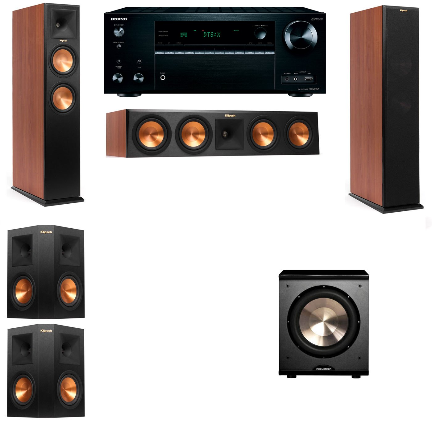 Klipsch RP-250F Tower Speakers CH-PL-200-5.1-Onkyo TX-NR757