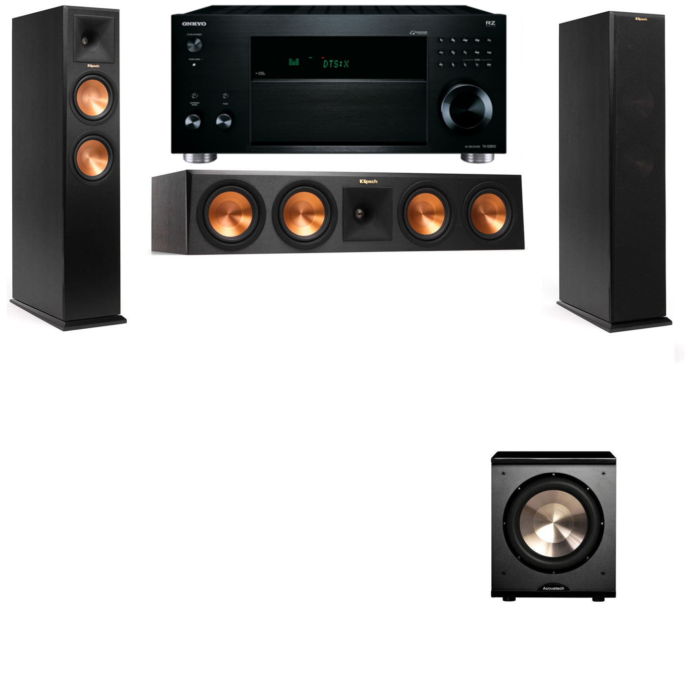 Klipsch RP-260F Tower Speakers-PL-200-3.1-Onkyo TX-RZ810
