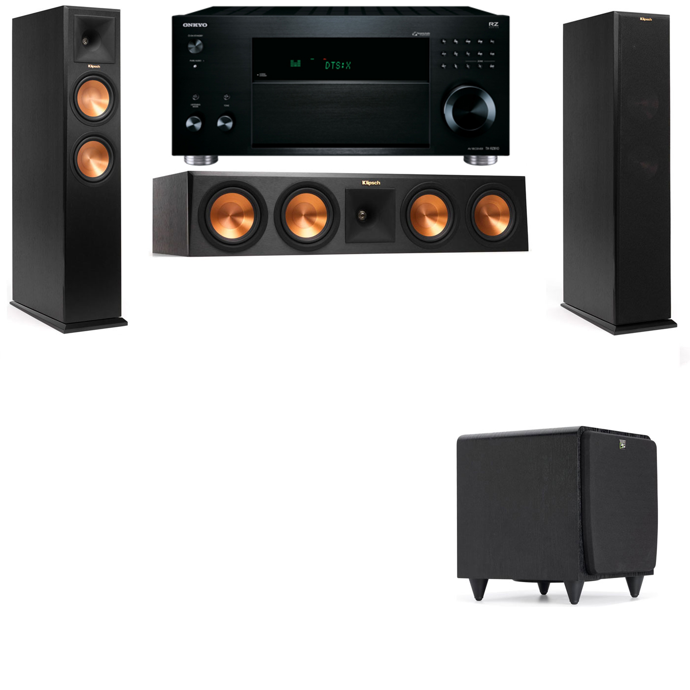 Klipsch RP-260F Tower Speakers-SDS12-3.1-Onkyo TX-RZ810