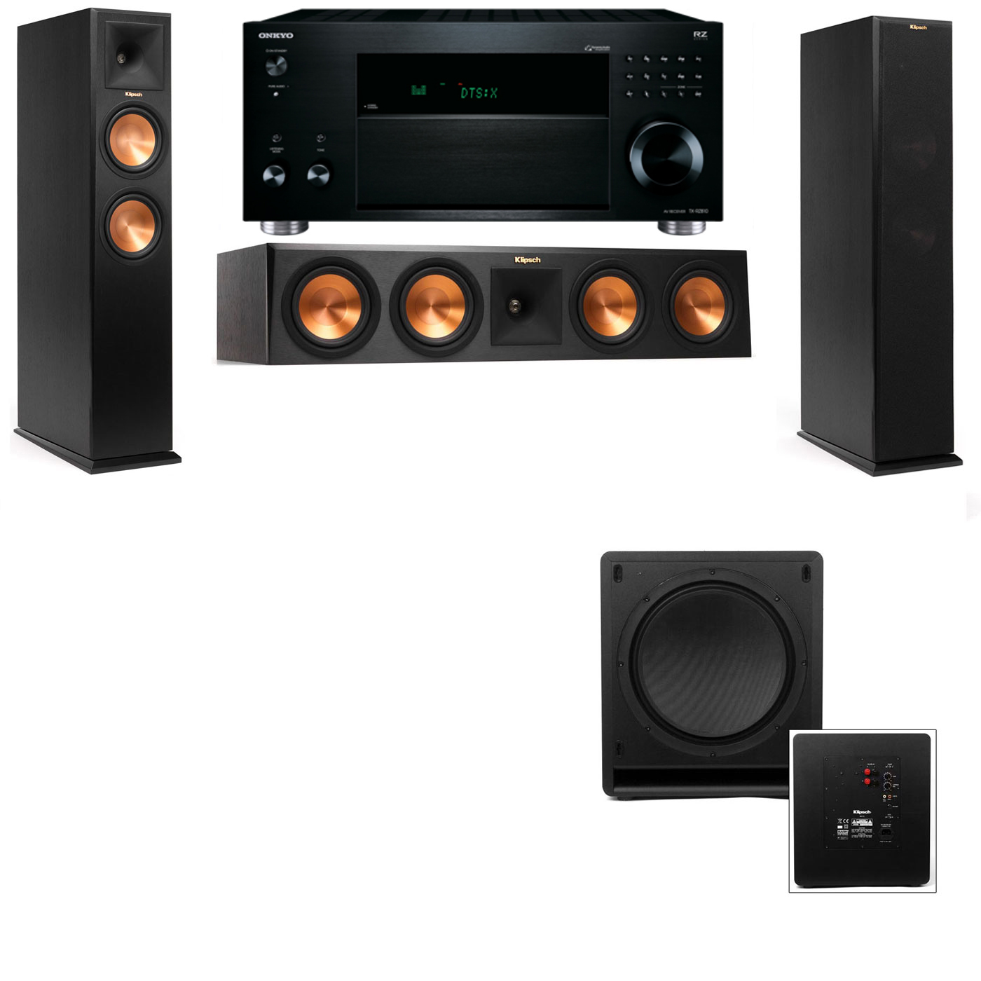 Klipsch RP-260F Tower Speakers-SW-112-3.1-Onkyo TX-RZ810