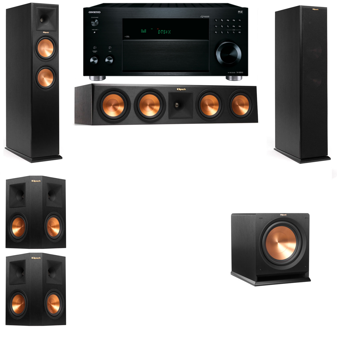 Klipsch RP-260F Tower Speakers-R112SW-5.1-Onkyo TX-RZ810