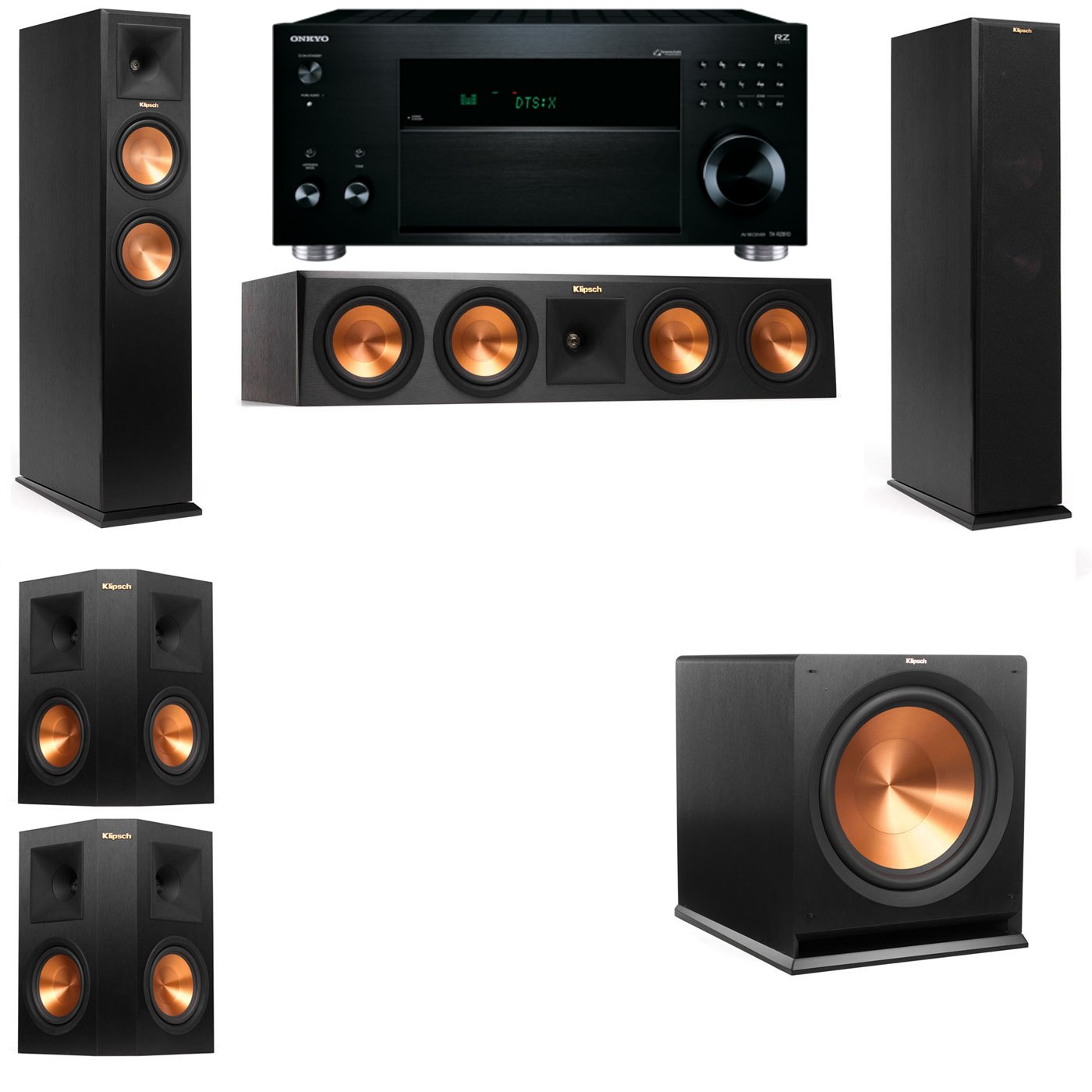Klipsch RP-260F Tower Speakers-5.1-Onkyo TX-RZ810