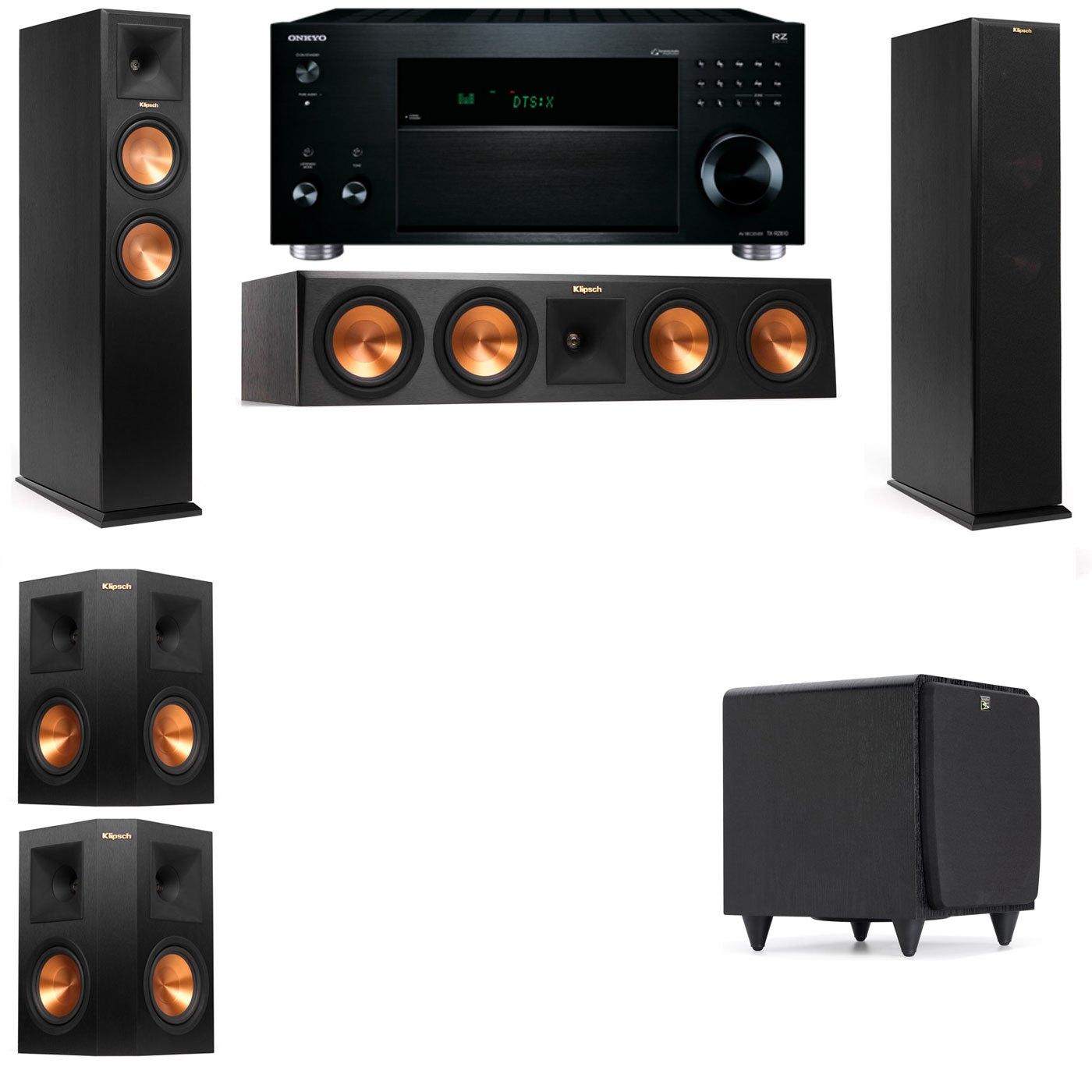 Klipsch RP-260F Tower Speakers-SDS12-5.1-Onkyo TX-RZ810