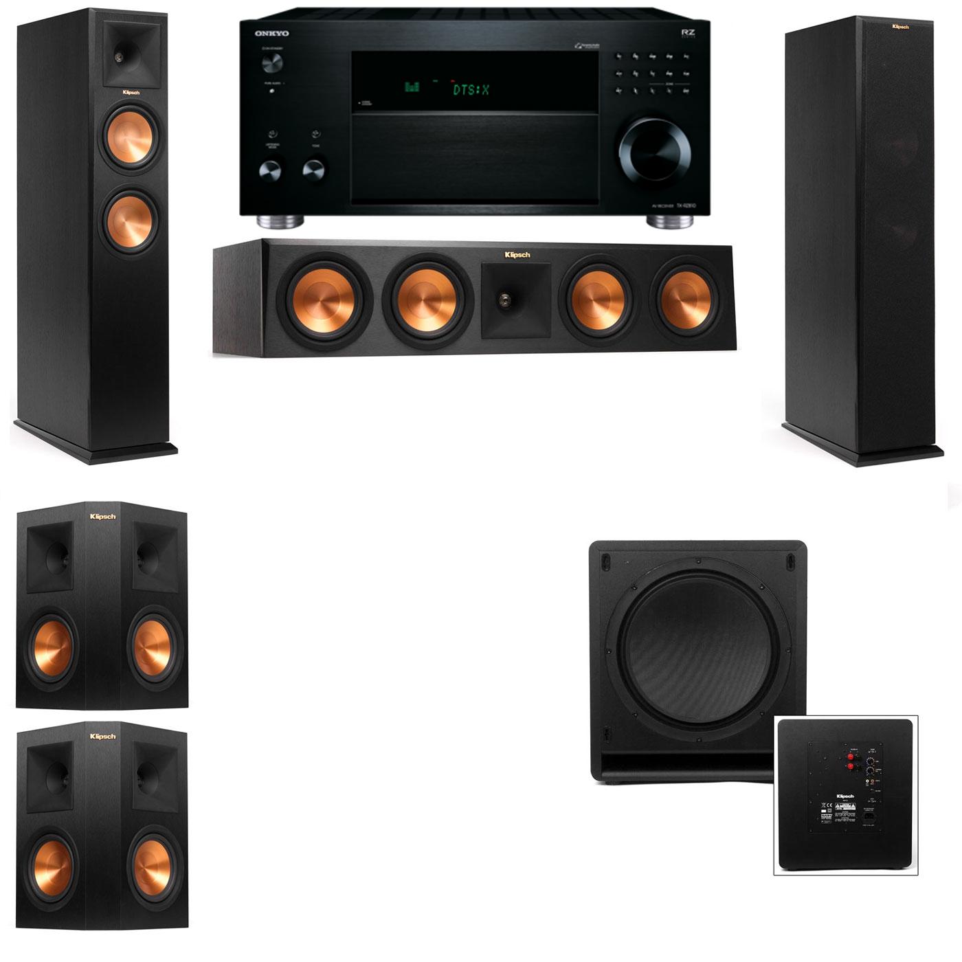 Klipsch RP-260F Tower Speakers-SW-112-5.1-Onkyo TX-RZ810