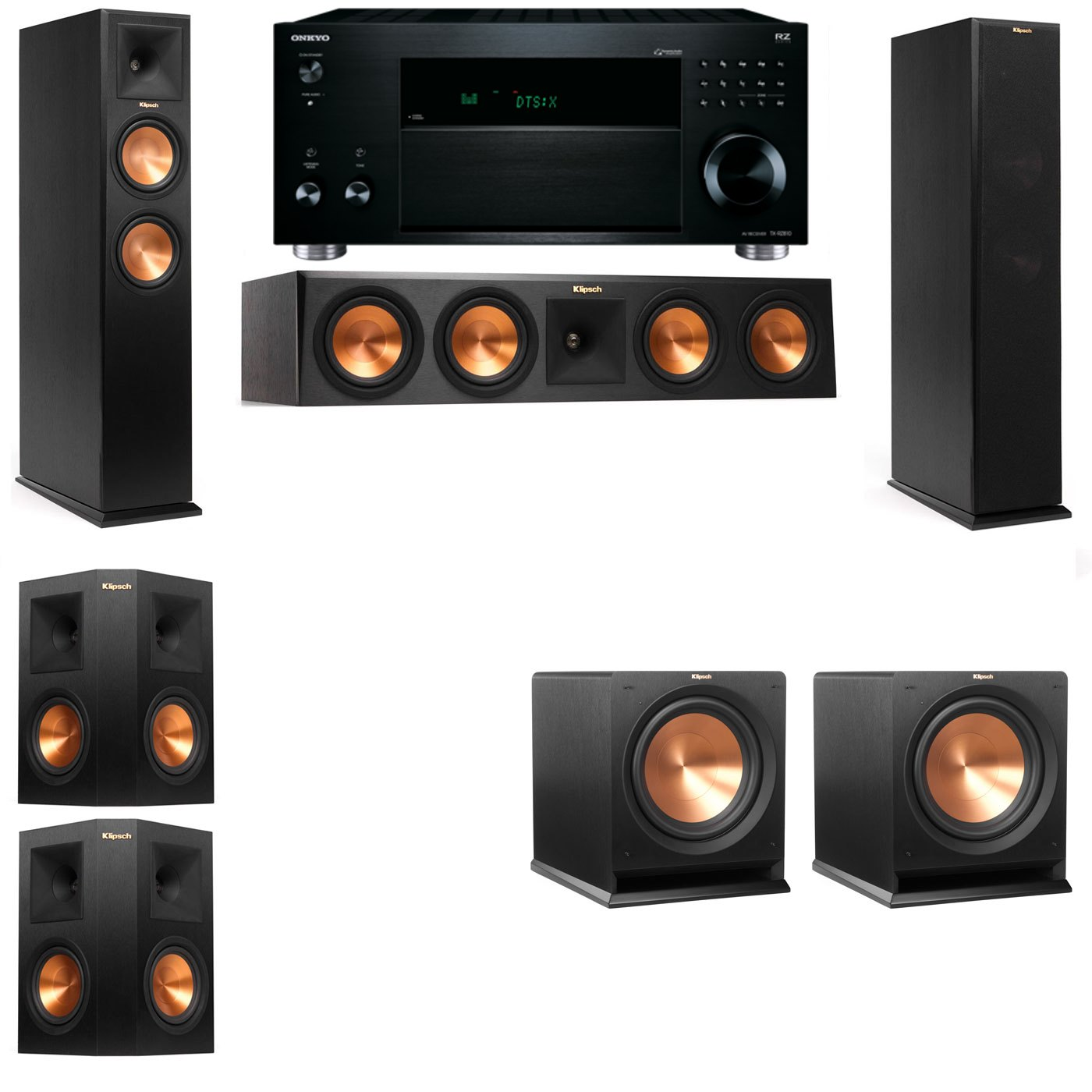 Klipsch RP-260F Tower Speakers-R112SW-5.2-Onkyo TX-RZ810