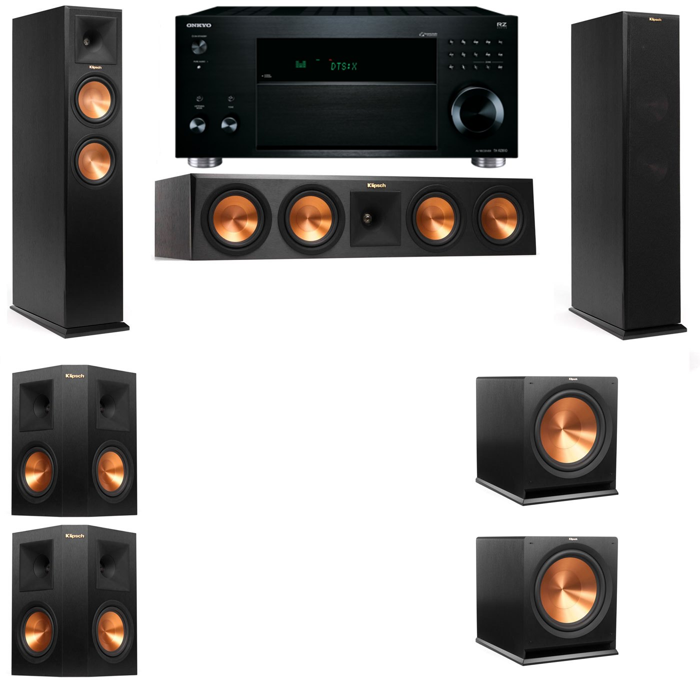 Klipsch RP-260F Tower Speakers-5.2-Onkyo TX-RZ810