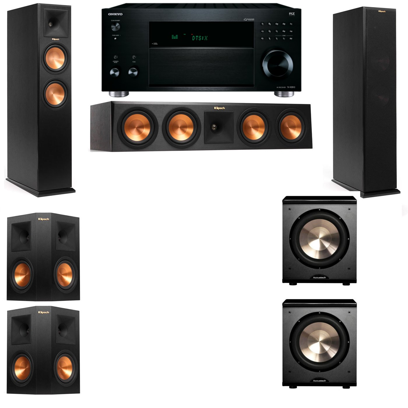 Klipsch RP-260F Tower Speakers-PL-200-5.2-Onkyo TX-RZ810
