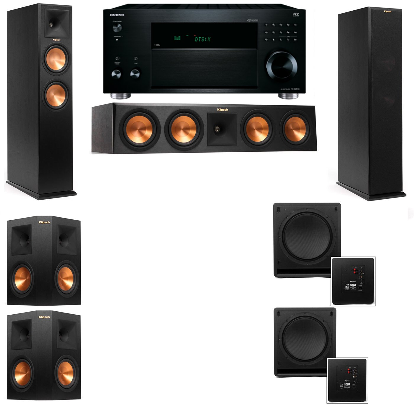 Klipsch RP-260F Tower Speakers-SW-112-5.2-Onkyo TX-RZ810