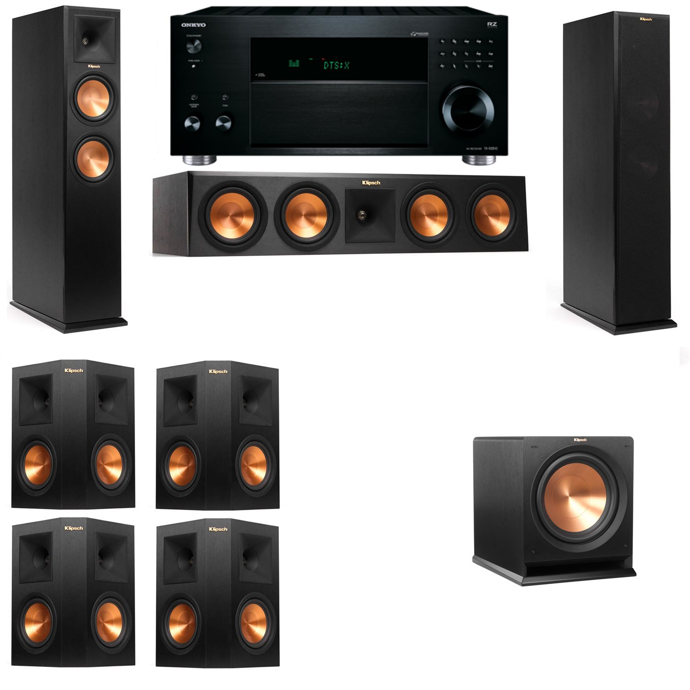 Klipsch RP-260F Tower Speakers-R112SW-7.1-Onkyo TX-RZ810