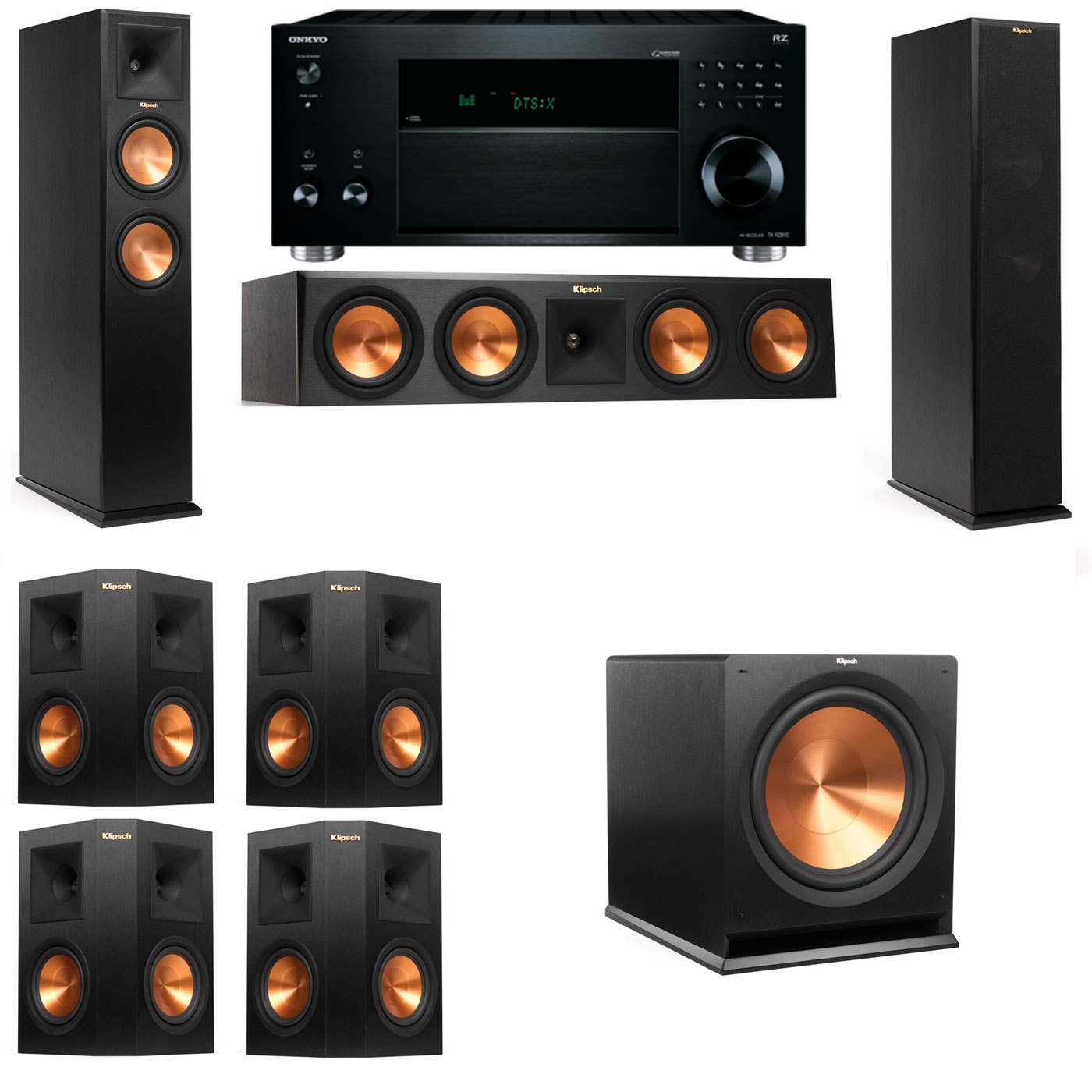 Klipsch RP-260F Tower Speakers-7.1-Onkyo TX-RZ810