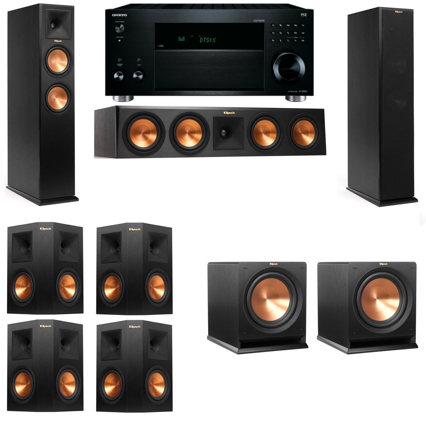 Klipsch RP-260F Tower Speakers-R112SW-7.2-Onkyo TX-RZ810