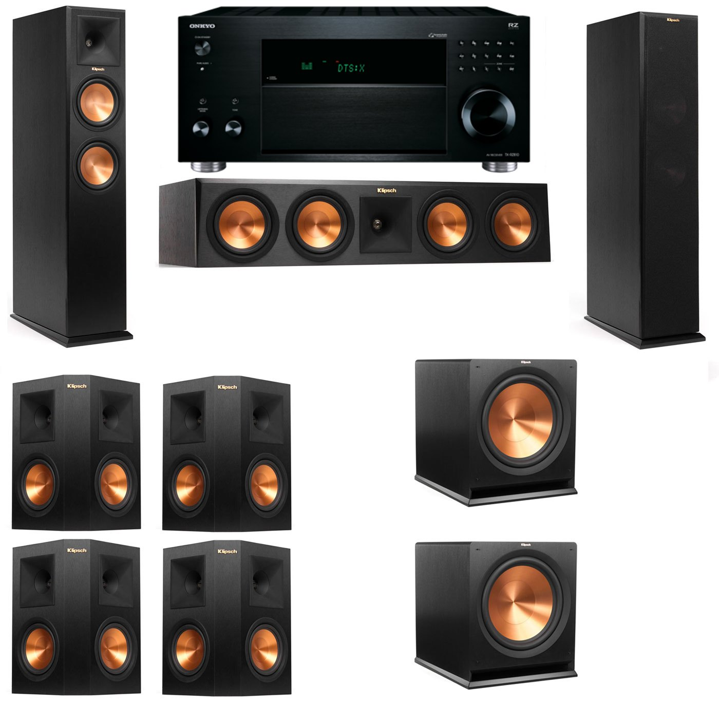 Klipsch RP-260F Tower Speakers-7.2-Onkyo TX-RZ810