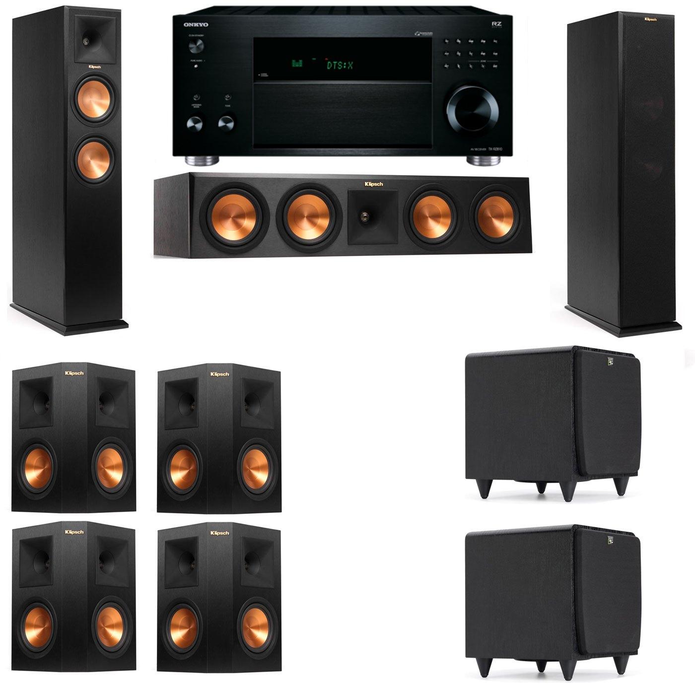 Klipsch RP-260F Tower Speakers-SDS12-7.2-Onkyo TX-RZ810