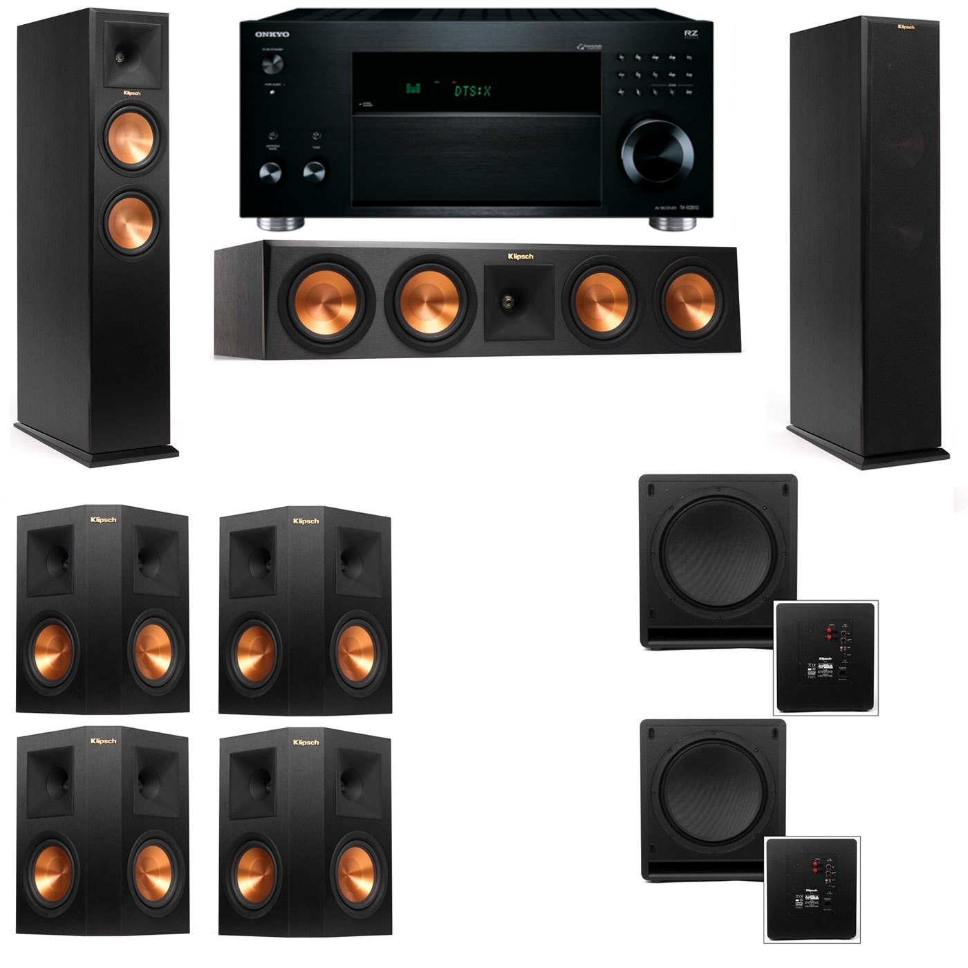 Klipsch RP-260F Tower Speakers-SW-112-7.2-Onkyo TX-RZ810