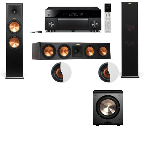 Dolby Atmos 3.1.2 Klipsch RP-280F Tower Speakers PL-200 with Yamaha RX-A1060