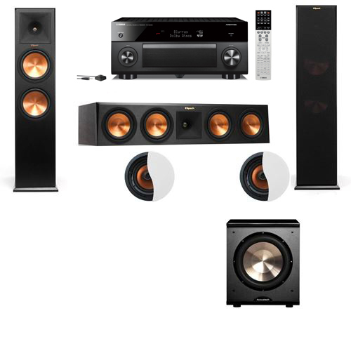 Dolby Atmos 3.1.2 Klipsch RP-280F Tower Speakers PL-200 with Yamaha RX-A2060