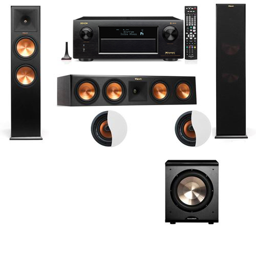 Dolby Atmos 3.1.2 Klipsch RP-280F Tower Speakers PL-200 with Denon AVR-X6300H