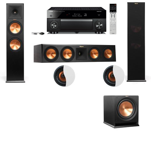 Dolby Atmos 3.1.2 Klipsch RP-280F Tower Speakers R112SW with Yamaha RX-A1060