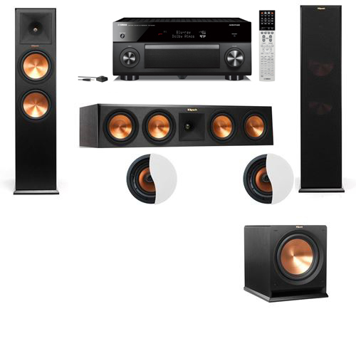 Dolby Atmos 3.1.2 Klipsch RP-280F Tower Speakers R112SW with Yamaha RX-A2060