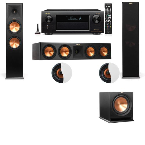 Dolby Atmos 3.1.2 Klipsch RP-280F Tower Speakers R112SW with Denon AVR-X6300H