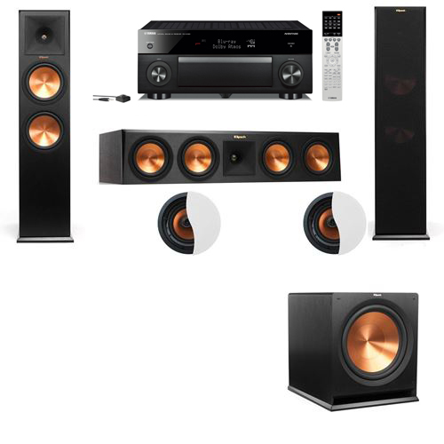 Dolby Atmos 3.1.2 Klipsch RP-280F Tower Speakers R115SW with Yamaha RX-A1060