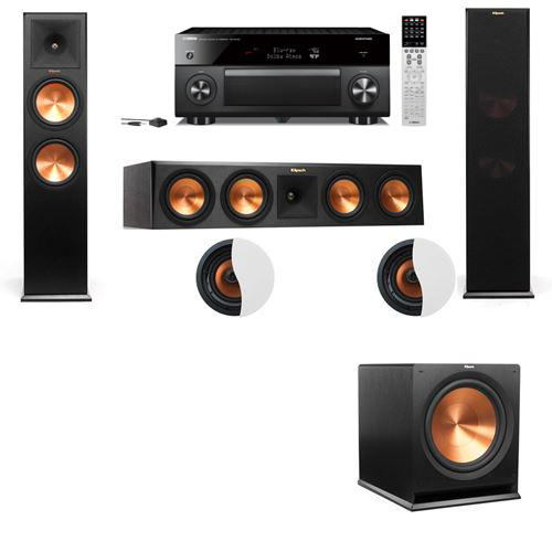 Dolby Atmos 3.1.2 Klipsch RP-280F Tower Speakers R115SW with Yamaha RX-A2060