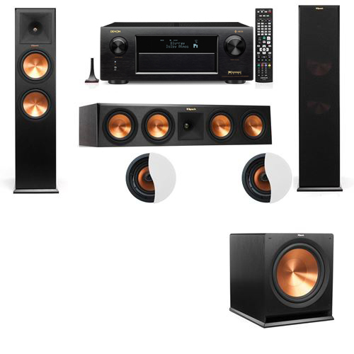 Dolby Atmos 3.1.2 Klipsch RP-280F Tower Speakers R115SW with Denon AVR-X6300H