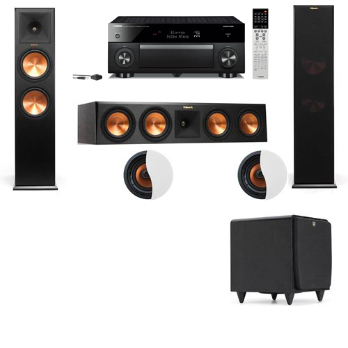 Dolby Atmos 3.1.2 Klipsch RP-280F Tower Speakers SDS12 with Yamaha RX-A1060