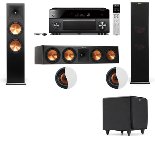 Dolby Atmos 3.1.2 Klipsch RP-280F Tower Speakers SDS12 with Yamaha RX-A2060