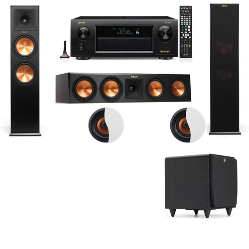 Dolby Atmos 3.1.2 Klipsch RP-280F Tower Speakers SDS12 with Denon AVR-X6300H