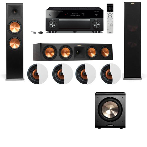 Dolby Atmos 3.1.4 Klipsch RP-280F Tower Speakers PL-200 with Yamaha RX-A1060