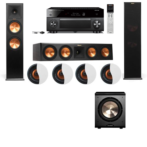 Dolby Atmos 3.1.4 Klipsch RP-280F Tower Speakers PL-200 with Yamaha RX-A2060