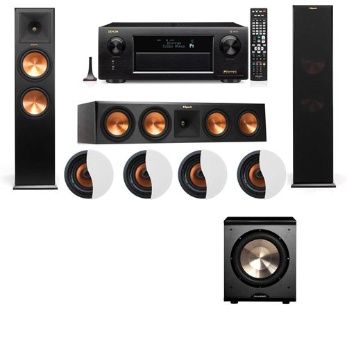 Dolby Atmos 3.1.4 Klipsch RP-280F Tower Speakers PL-200 with Denon AVR-X6300H