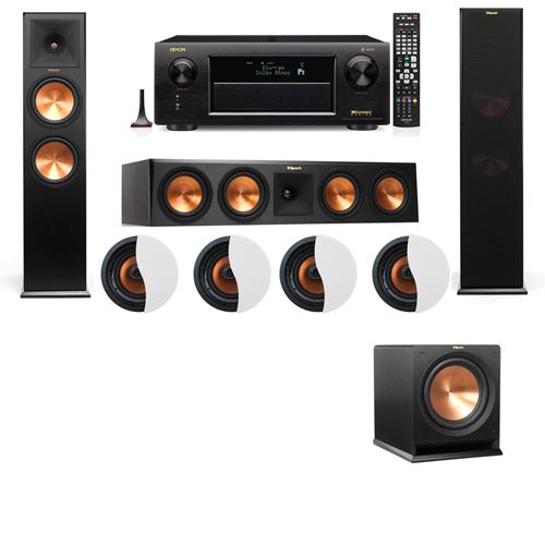 Dolby Atmos 3.1.4 Klipsch RP-280F Tower Speakers R112SW with Denon AVR-X6300H