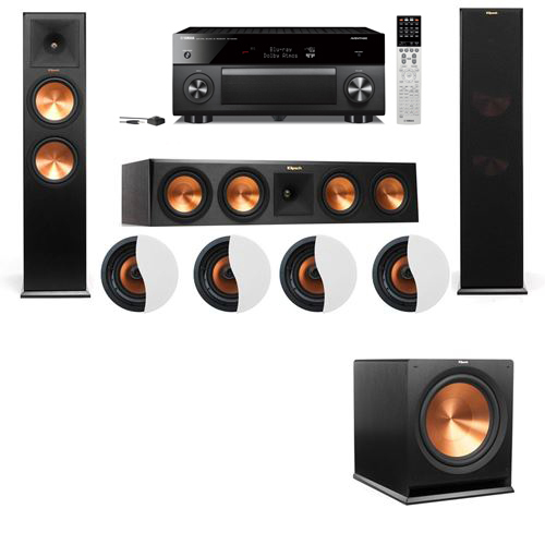 Dolby Atmos 3.1.4 Klipsch RP-280F Tower Speakers R115SW with Yamaha RX-A2060