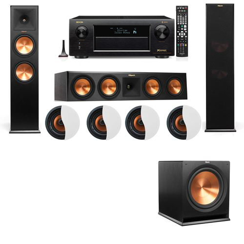 Dolby Atmos 3.1.4 Klipsch RP-280F Tower Speakers R115SW with Denon AVR-X6300H