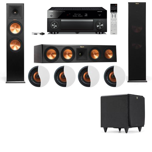 Dolby Atmos 3.1.4 Klipsch RP-280F Tower Speakers SDS12 with Yamaha RX-A1060