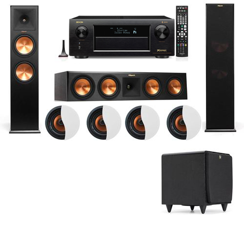 Dolby Atmos 3.1.4 Klipsch RP-280F Tower Speakers SDS12 with Denon AVR-X6300H