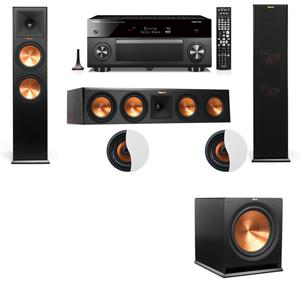 Dolby Atmos 3.1.2 Klipsch RP-280F Tower Speakers R115SW with Yamaha RX-A3060