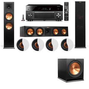 Dolby Atmos 3.1.4 Klipsch RP-280F Tower Speakers R115SW with Yamaha RX-A3060