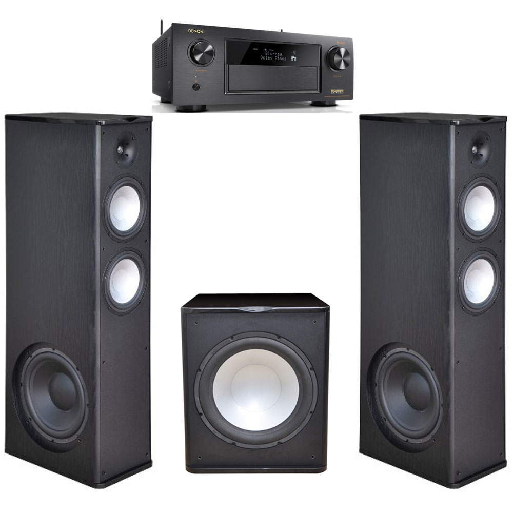 2 Premier Acoustic PA-8.12 Tower Speakers with 1 PA-150 15-inch Subwoofer with Denon AVR-X4400H Receiver