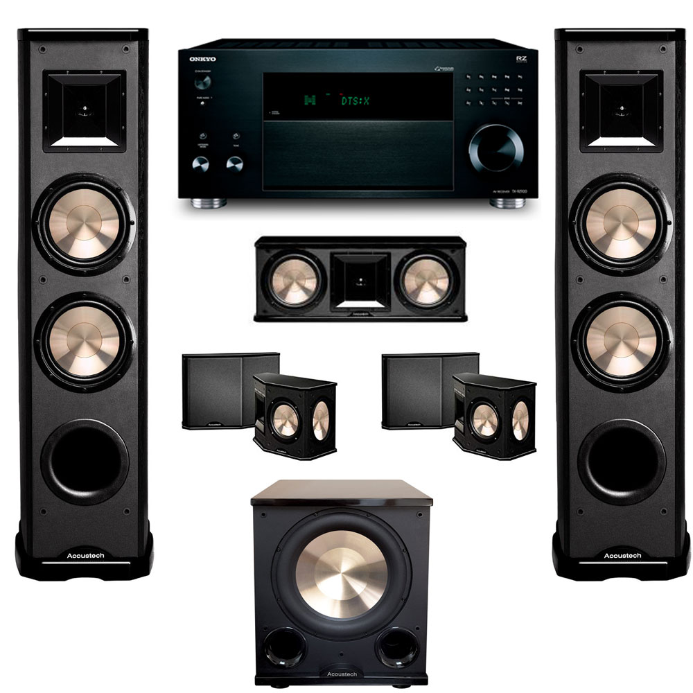 BIC Acoustech 5.1 Home Theater System with Onkyo TX-RZ920 Receiver and PL-200II Subwoofer