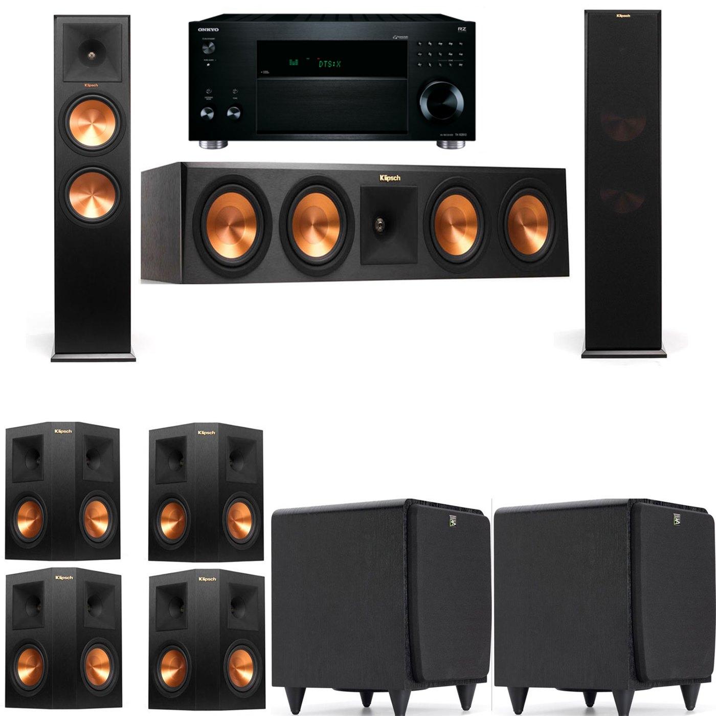 Klipsch RP-280F Tower Speakers-SDS12-7.2-Onkyo TX-RZ810