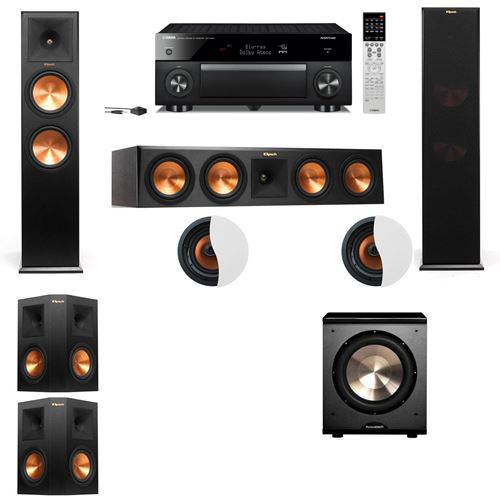 Dolby Atmos 5.1.2 Klipsch RP-280F Tower Speakers PL-200 with Yamaha RX-A1060