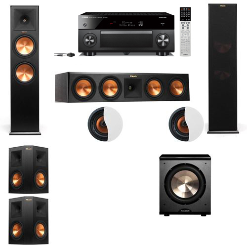 Dolby Atmos 5.1.2 Klipsch RP-280F Tower Speakers PL-200 with Yamaha RX-A2060