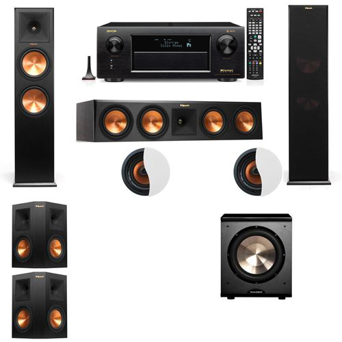 Dolby Atmos 5.1.2 Klipsch RP-280F Tower Speakers PL-200 with Denon AVR-X6300H