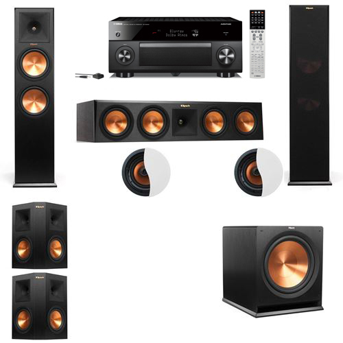 Dolby Atmos 5.1.2 Klipsch RP-280F Tower Speakers R-115SW with Yamaha RX-A2060